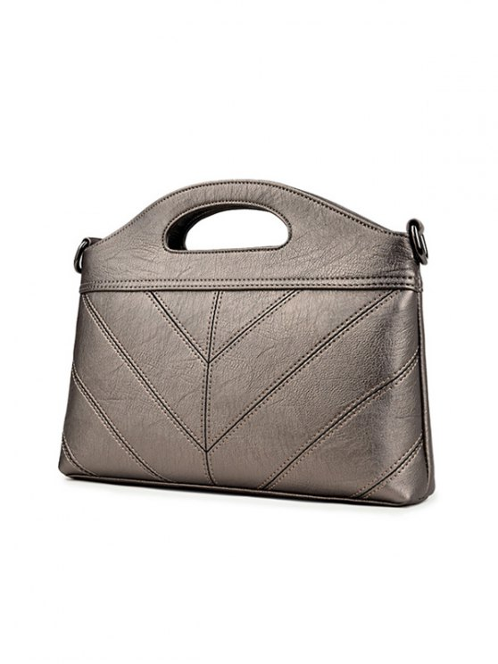 Stitching PU Leather Handbag - BRONZE-COLORED  Mobile