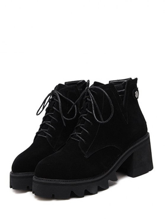 Slit Lace Up Chunky Heel Boots - BLACK 37 Mobile