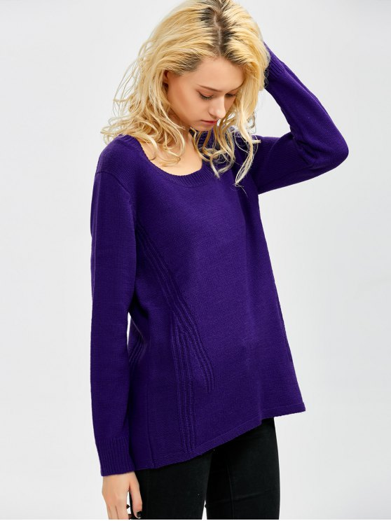 Scoop Neck Oversized Sweater - VIOLET ONE SIZE Mobile