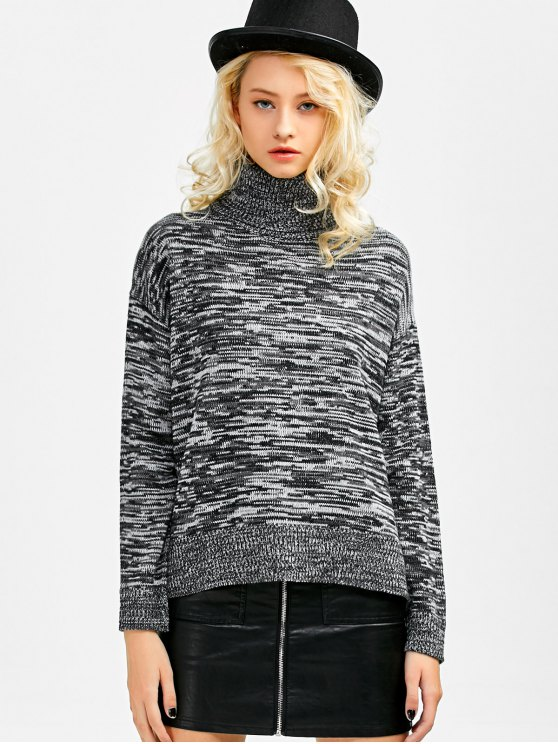 Boxy Heathered Turtleneck Sweater - GRAY ONE SIZE Mobile