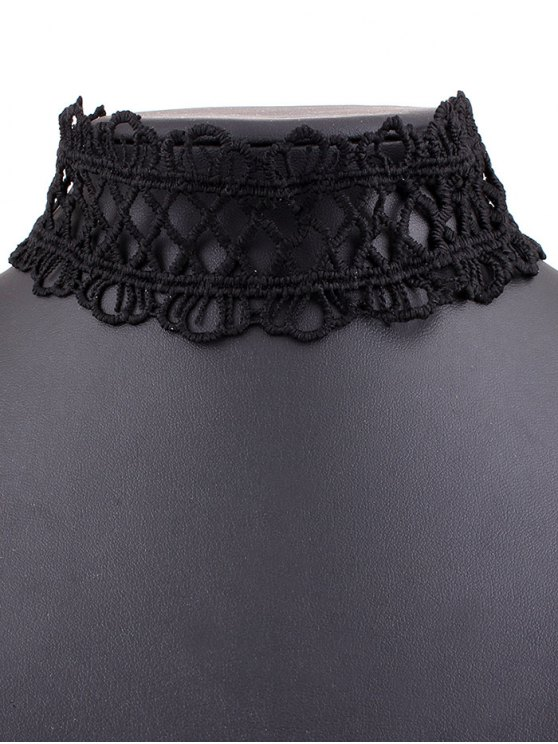 Lace Crown Choker Necklace - BLACK  Mobile