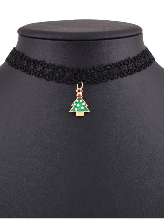 Christmas Tree Lace Choker - BLACK  Mobile