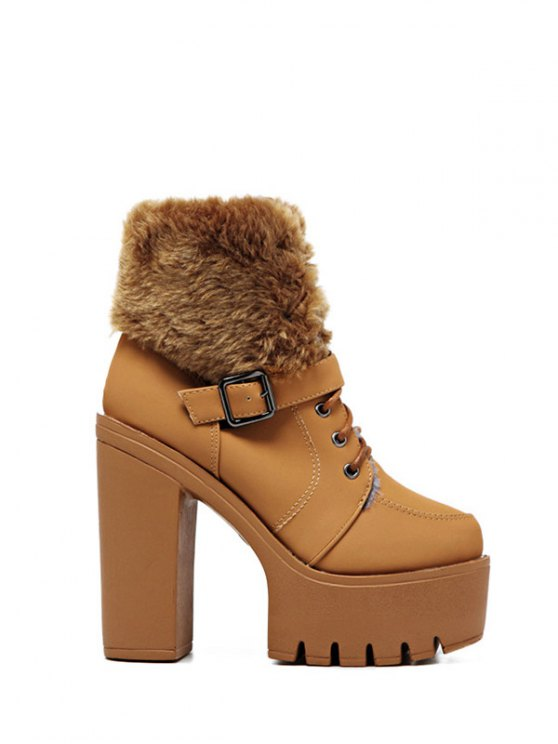 Faux Fur High Heel Short Boots - LIGHT BROWN 39 Mobile