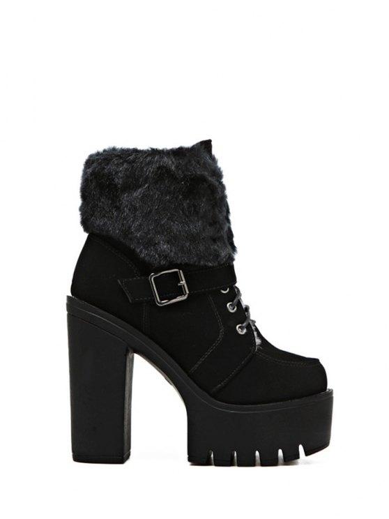 Faux Fur High Heel Short Boots - BLACK 38 Mobile