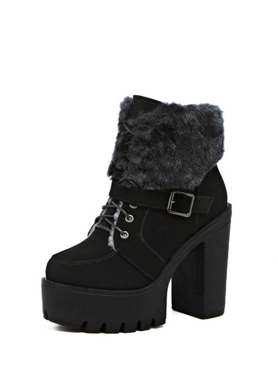 Faux Fur High Heel Short Boots - BLACK 37 Mobile