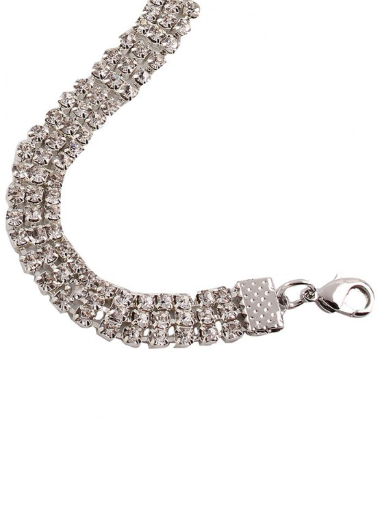 Alloy Rhinestone Necklace - WHITE  Mobile