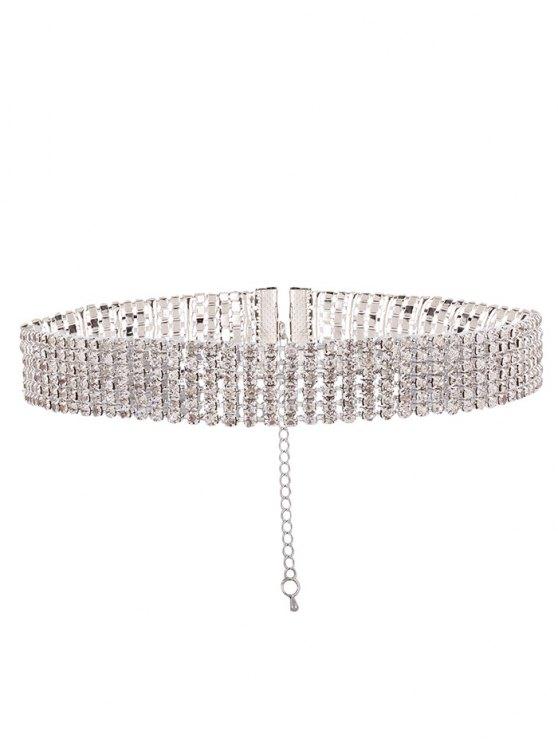 Adorn Rhinestone Necklace - WHITE  Mobile