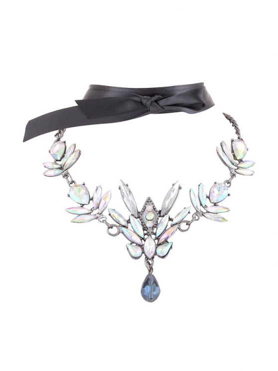 Artificial Gem Necklace with Ribbon Choker - WHITE  Mobile