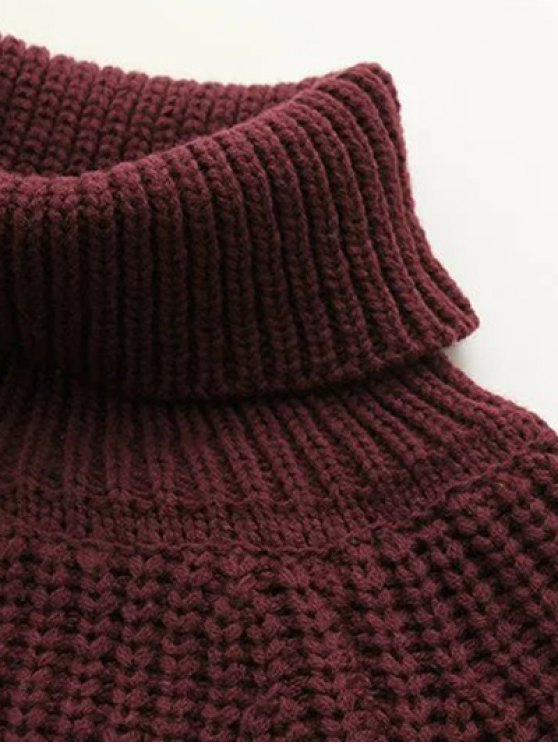 Turtleneck Chunky Pullover Sweater - OFF-WHITE ONE SIZE Mobile