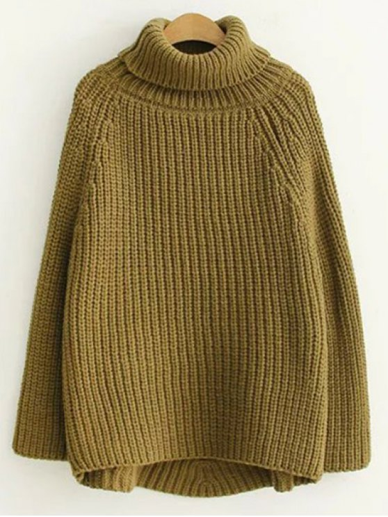 Turtleneck Chunky Pullover Sweater - ARMY GREEN ONE SIZE Mobile
