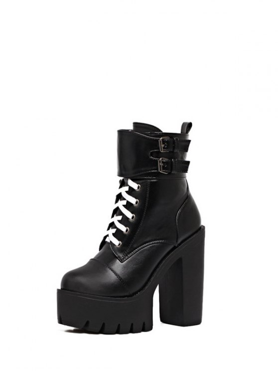 Buckle Straps High Heel Boots - BLACK 38 Mobile