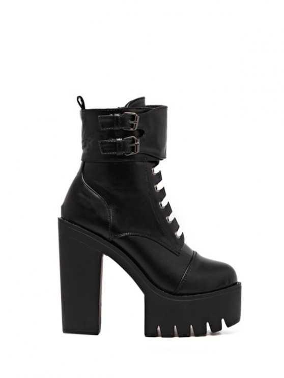 Buckle Straps High Heel Boots - BLACK 39 Mobile