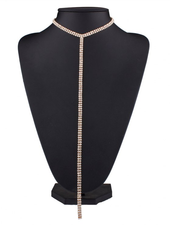 Alloy Long Rhinestoned Necklace - GOLDEN  Mobile