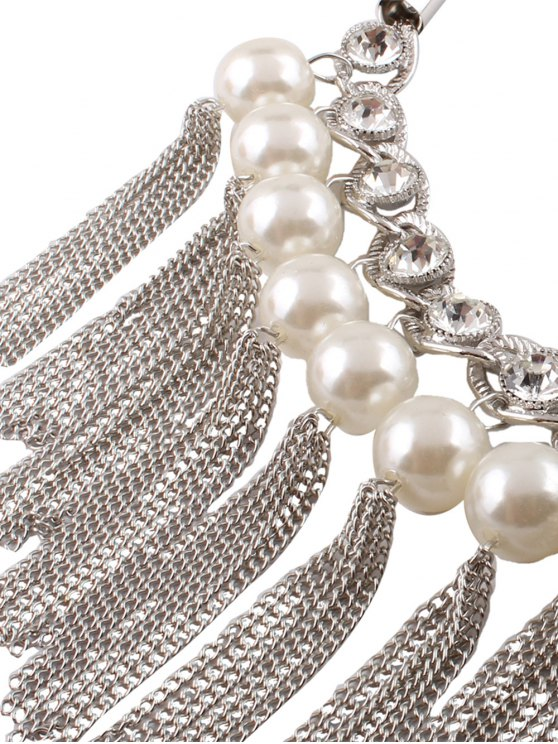 Chain Tassel Fake Pearl Necklace and Earrings - SILVER  Mobile