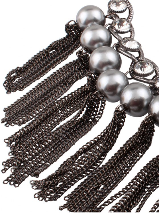 Chain Tassel Fake Pearl Necklace and Earrings - BLACK  Mobile