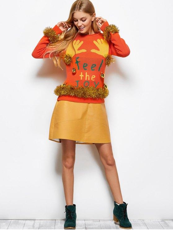 Christmas Bells Embellished Sweater - ORANGE RED M Mobile