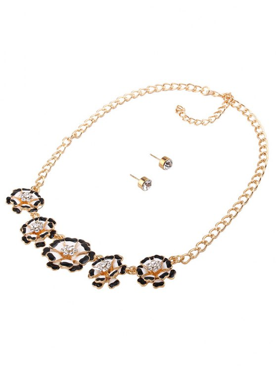 Rhinestoned Flower Necklace with Earrings - BLACK  Mobile