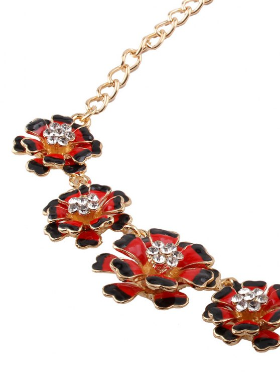 Rhinestoned Flower Necklace with Earrings - RED  Mobile