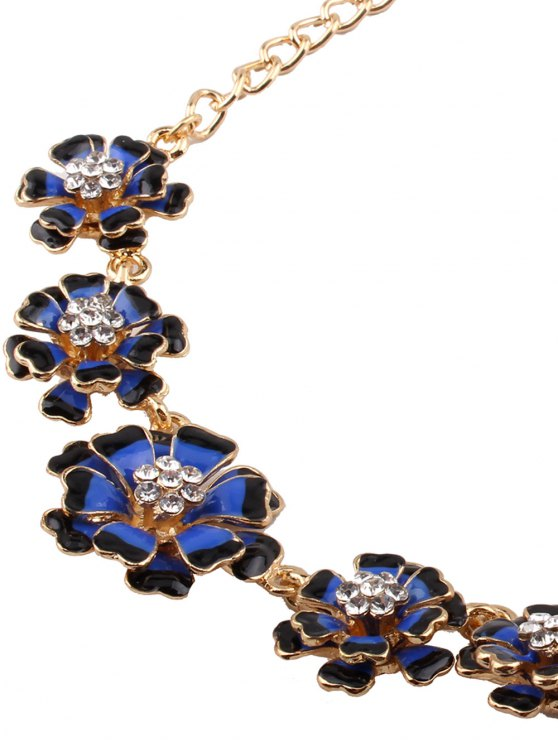 Rhinestoned Flower Necklace with Earrings - BLUE  Mobile