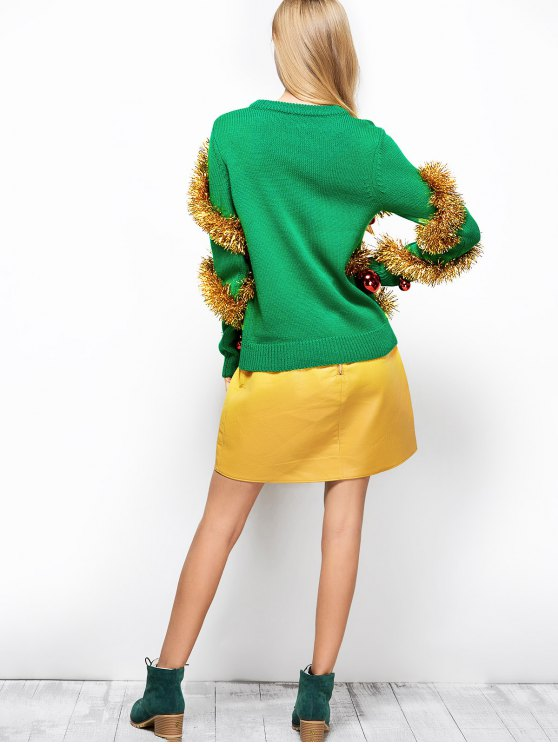 Christmas Crew Neck Pullover Sweater - GREEN L Mobile