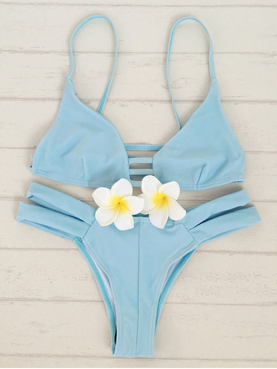 shop Solid Color Cami Bandage Bikini Set - LIGHT BLUE M