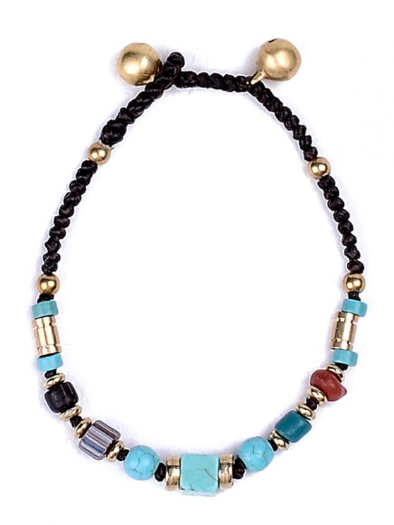 Artificial Leather Braid Turquoise Bracelet -   Mobile