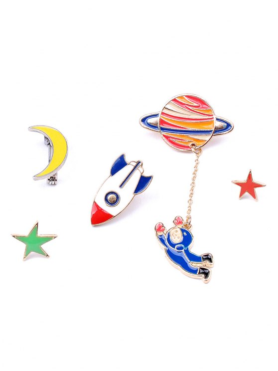 fashion Moon Rocket Spaceman Star Brooch Set - COLORMIX