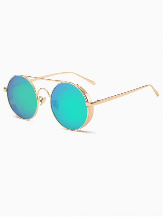 Crossbar Mirrored Round Sunglasses - GREEN  Mobile