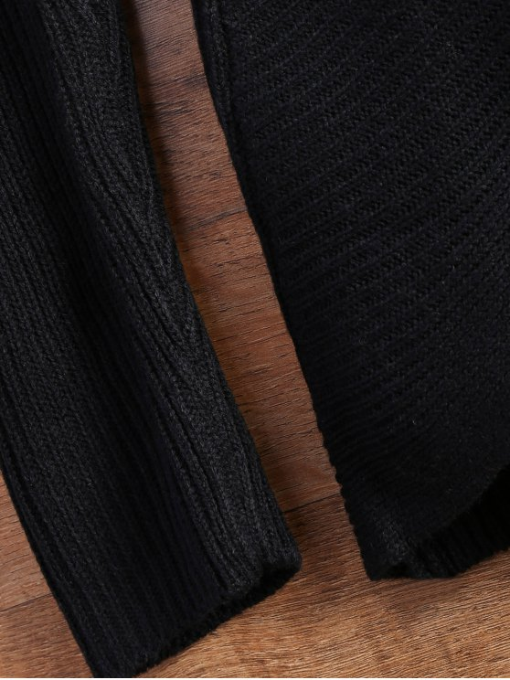 Wrap Ribbed Sweater - BLACK ONE SIZE Mobile