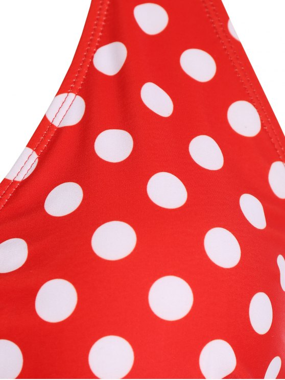 Polka Dot Halter Plus Size Vintage Bikini - RED 2XL Mobile