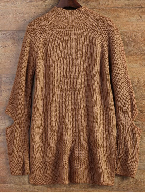 Mock Neck Cut Out Sweater - KHAKI ONE SIZE Mobile