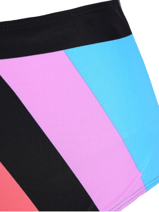 Color Block Halter Plus Size Bikini - COLORMIX 3XL Mobile