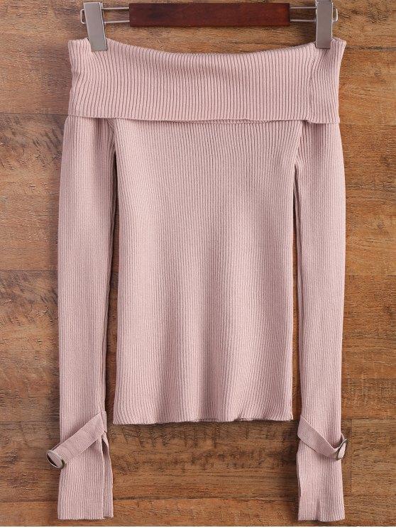 Dividir la manga del suéter Off The hombro - Rosa Única Talla
