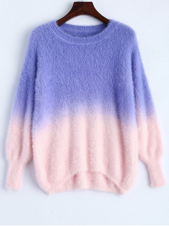 new Ombre High-Low Sweater - PURPLE ONE SIZE
