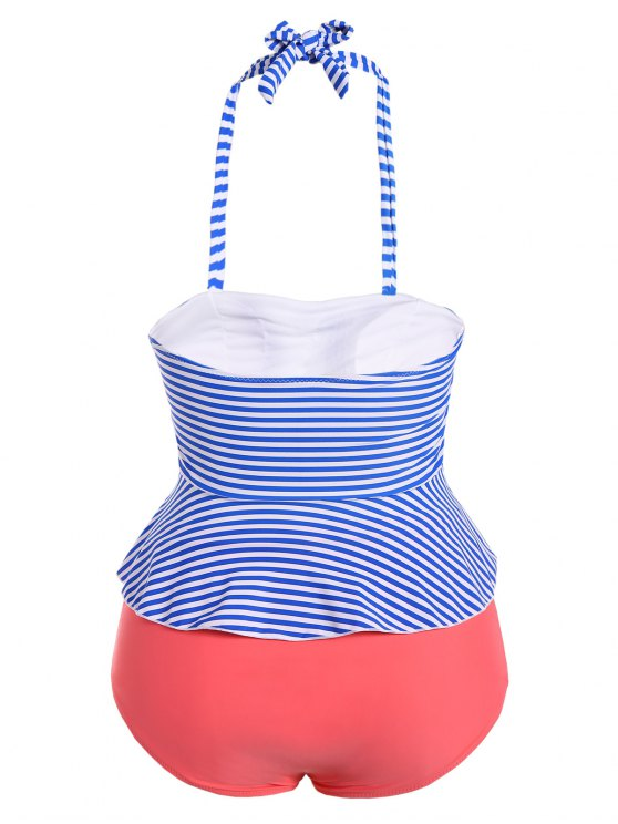 Halter Stripes Plus Size Swimwear - STRIPE M Mobile