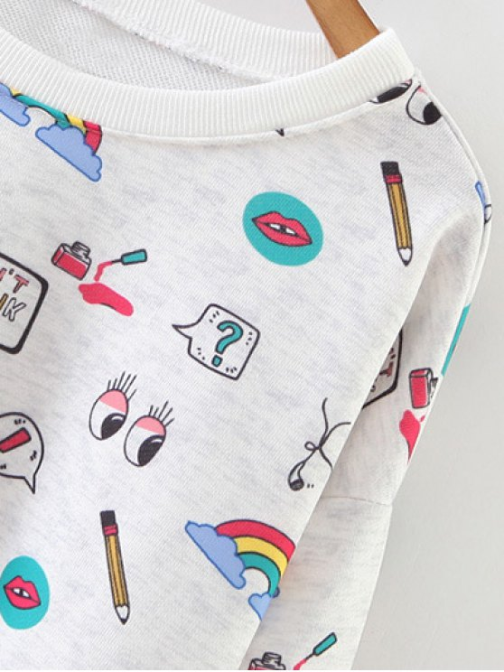 Cartoon Patterned Pullover Sweatshirt - LIGHT GRAY M Mobile
