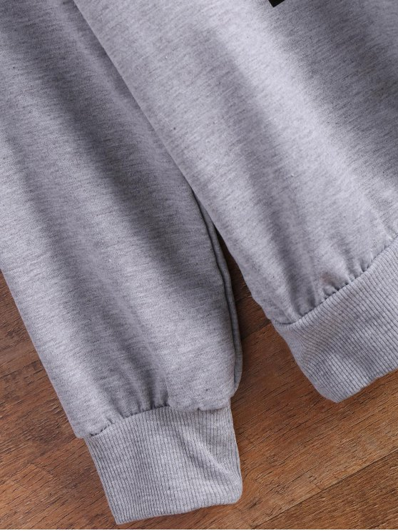 Sported Letter Sweatshirt - GRAY L Mobile