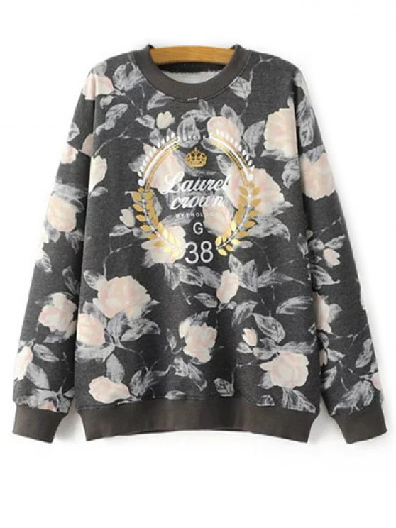 Floral Graphic Sweatshirt - FLORAL ONE SIZE Mobile