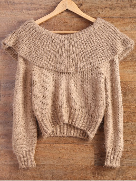 Flounced Fuzzy High-Low Sweater - CAMEL ONE SIZE Mobile