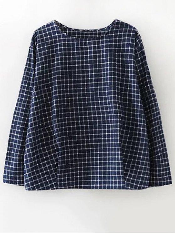 Carta de la tela escocesa de la blusa bordada - Azul Purpúreo L