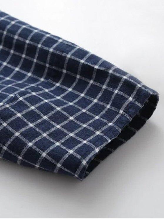 Plaid Letter Embroidered Blouse - PURPLISH BLUE M Mobile