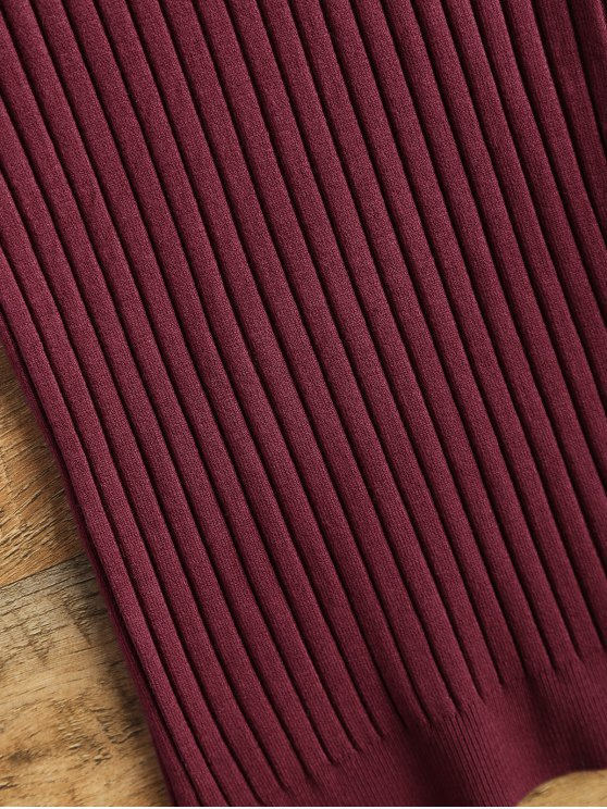 Vest Ribbed Sweater - WINE RED ONE SIZE Mobile
