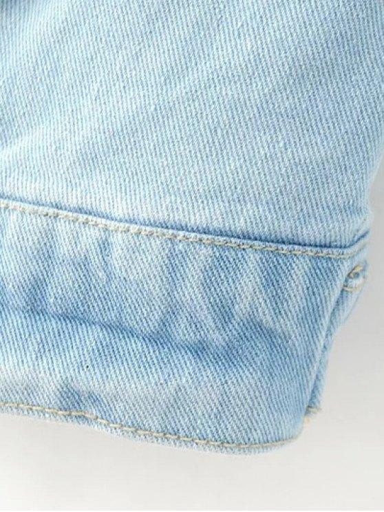 Patch Light Wash Denim Jacket - LIGHT BLUE M Mobile