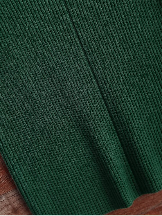 High Neck Vest Ribbed Sweater - GREEN ONE SIZE Mobile
