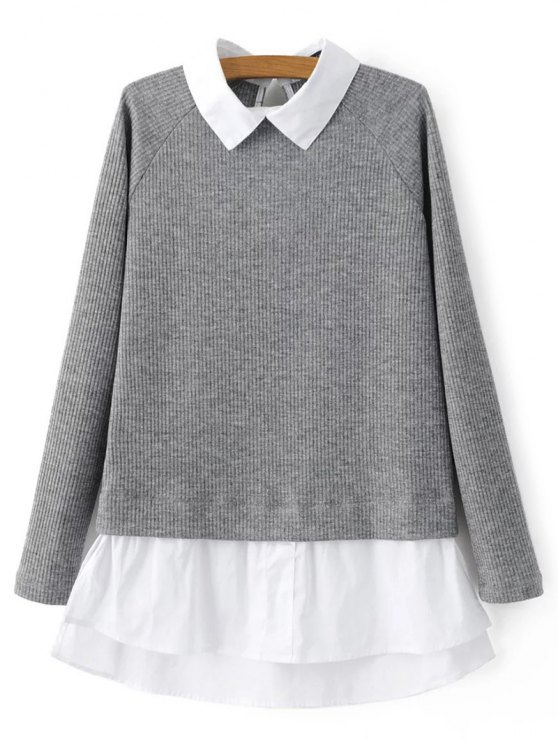 Raglan Sleeves Shirt Neck Panel Jumper - GRAY S Mobile