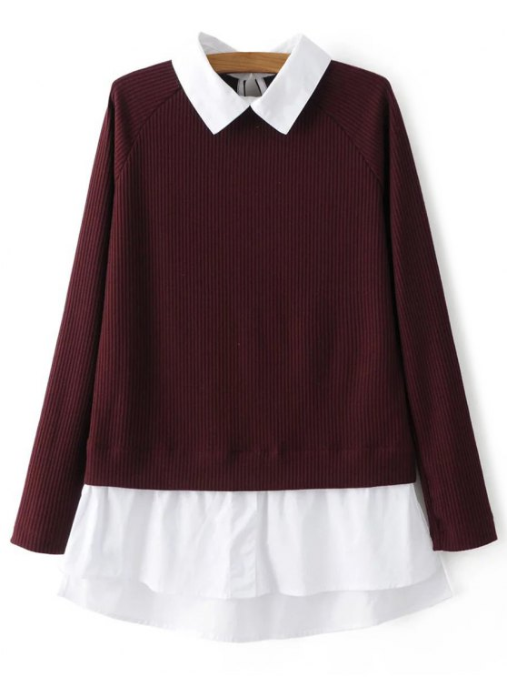 Raglan Sleeves Shirt Neck Panel Jumper - BURGUNDY L Mobile