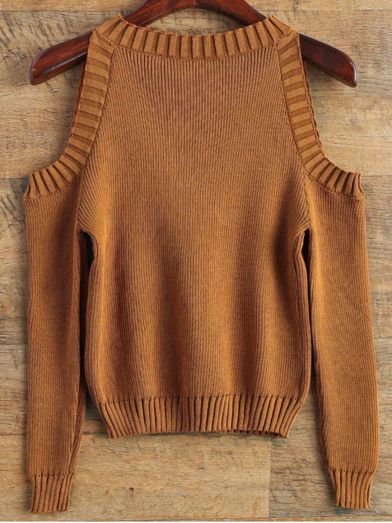 Loose-Fitting Cold Shoulder Sweater - COFFEE ONE SIZE Mobile