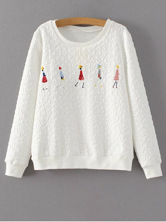 Cartoon Figure Print Sweatshirt - WHITE L Mobile