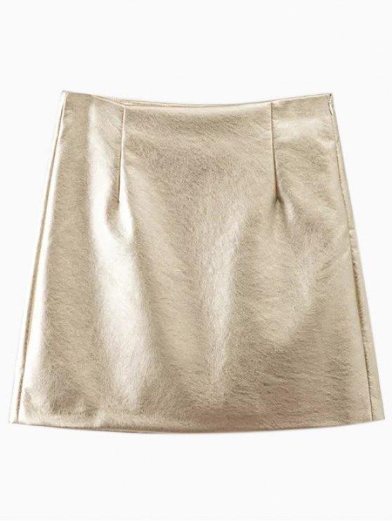 Mini jupe de cuir couleur métal - Or M