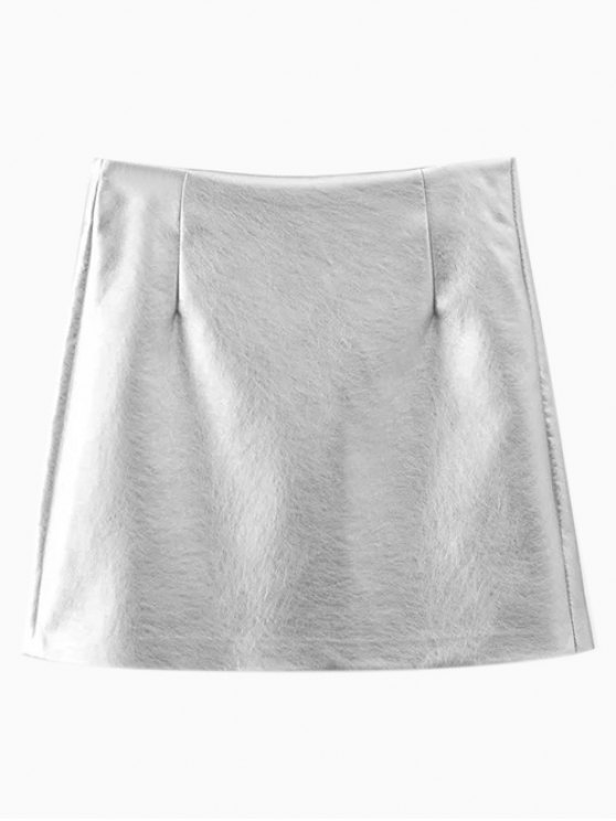 Metal Colour PU Leather Mini Skirt - SILVER M Mobile